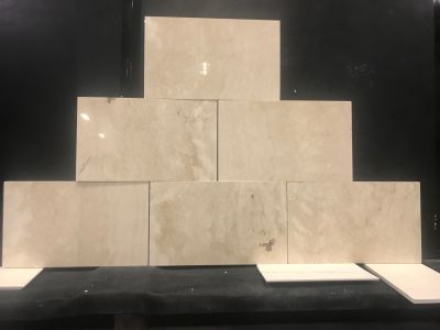 tan, white travertine Navona Travertine