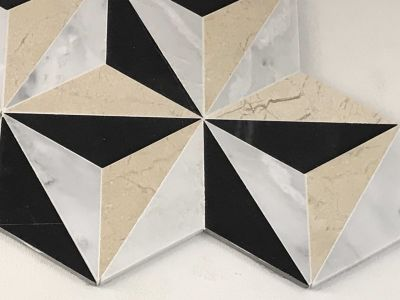 tan marble WJ-18 mosaic With Crema Marfil, Nero Marquina And White Carrara