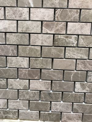 gray, pink marble Mystic Emperador 1x2 Polished Mosaic
