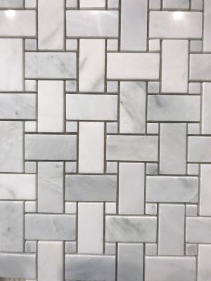 gray, white marble calacatta carrara basket weave mosaic with calacatta carrara dots