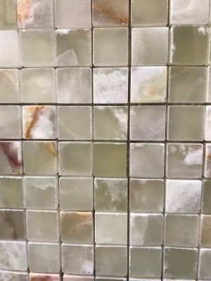 green, white onyx Green Onyx 1x1 Polished Mosaic