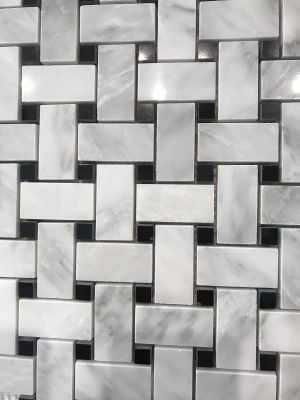 black, gray, white marble Calacatta Carrara Polished Basket Weave Marble Mosaic With Black Dots