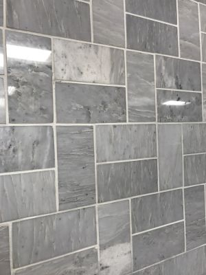 gray, white marble Cloudy Grey 3x6 Polished Marble Subway Tile