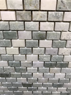 green, white marble Ming Green Polished Minibrick Marble Mosaic