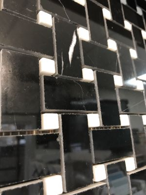 black, white marble Nero Marquina Black Marble Polished Basket Weave Mosaic With White Dots