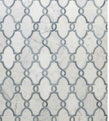 blue, gray, white stone Jet Set Oasis Carrara White  by walker zanger
