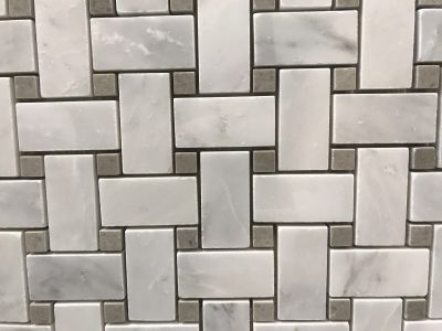 gray, white marble Calacatta Carrara Polished Basket Weave Marble Mosaic With Lady Grey Dots