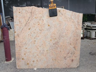 black, orange, white, pink granite Remnant Ivory Brown