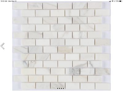 white stone CALACATA 1X2 POLISHED MOSAIC by milstone