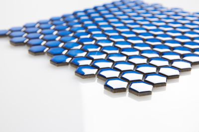 blue ceramic BLUE HEXAGON 1X1 MOSAIC by arvex mosaic