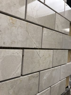 tan marble Cream Marfil Polished 2x4 Mosaic Tile by c-line marble and granite