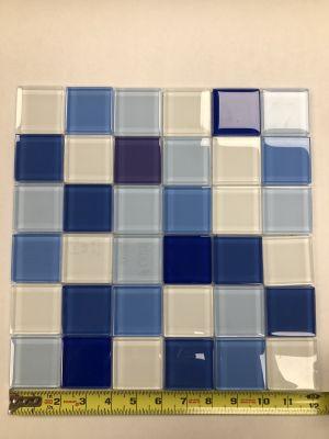"blue, white glass 2"" x 2"" White/Blue Mosaic on Sheet"