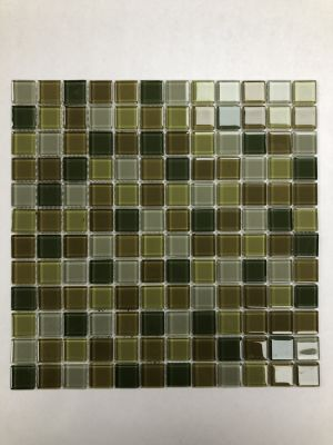"brown, green glass 1"" x 1"" Green Glass Mosaic"