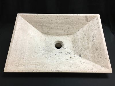 "tan travertine Stone Vessel Sink Bathroom Vanity Rectangle Beige Travertine 13-3/4""x19-1/2"""