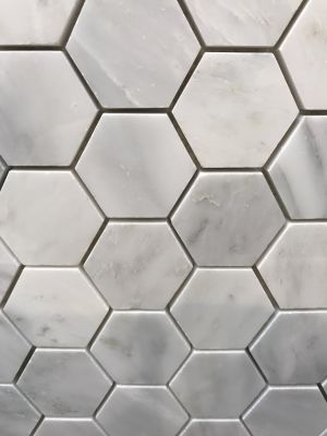 "gray, white marble Carrara Polished 2"" Hexagon Mosaic by c-line marble and granite"