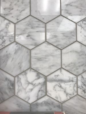 "gray, white marble Carrara Polished 5"" Hexagon Mosaic by c-line marble and granite"