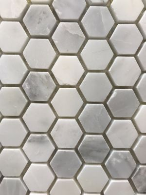 "gray, white marble Carrara Polished 1"" Hexagon Mosaic by c-line marble and granite"