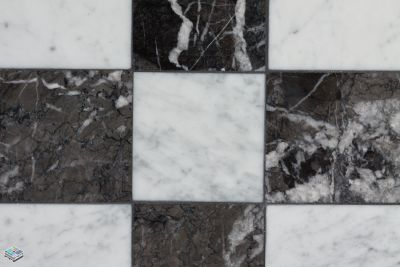 black, brown, gray, white quartz Carrara Negro Marq by tile and marble liquidators