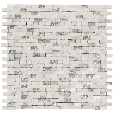 white glass Vision Mini Brick Glass/White Marble Mosaic Wall Tile