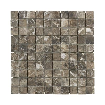 brown, tan marble 12x12 Emperador Marble Mosaic Floor/Wall Tile