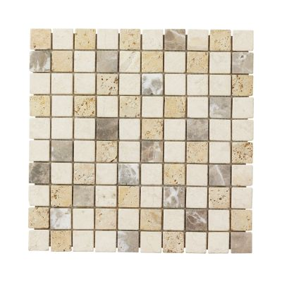 brown, tan natural stone 12x12 Giallo Sienna Medley Travertine Marble Mosaic Floor/Wall Tile