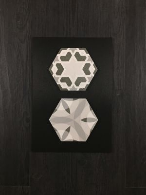 black, gray, white porcelain 7x8 Porcelain Deco Tile by five star ceramics group
