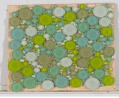 blue, green, white glass Bubbles Glass Lime Green Blend