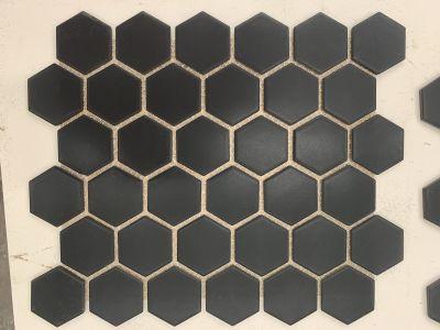 "black engineered Black Matte 2"" Hex Mosaic"