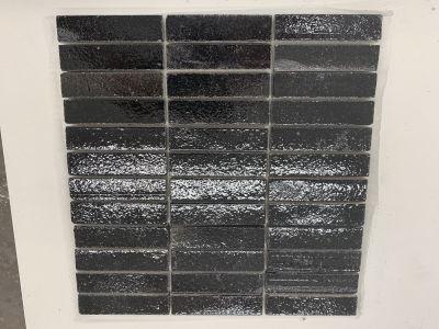 black engineered 1x4 Black Gloss Glazed Mosaic