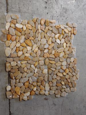 brown, gray, orange, tan, beige stone 12x12 Zen Pebble Flat Polished Tonga Sunset