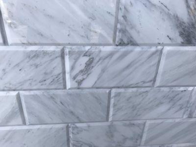 gray, white marble Calacatta Carrara 6x12 Polished Big Bevel Edge Marble Tile