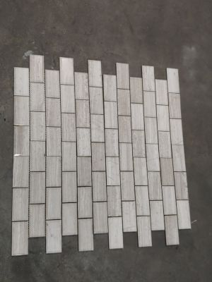 gray, white, beige stone 2X4 WOOD WHITE BEVEL