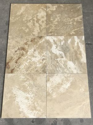 brown, tan, white travertine Imperial Andes From Peru (Micro Bevel) by mca systems