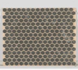 gray metallic Metal Mosaic 3/4 Rounds Brushed Stainless Steel