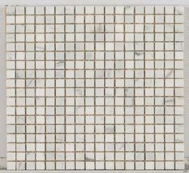 tan marble Stone Mosaic 5/8 X 5/8 Tumbled Carrara