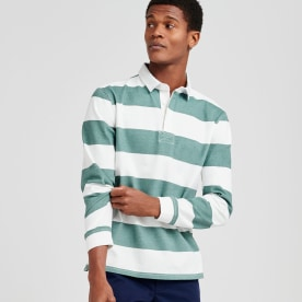 Green and white striped rugby shirt