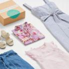 Stitch Fix outfit featuring white sandals, a light blue dress, 2 pink shirts and a denim skirt.