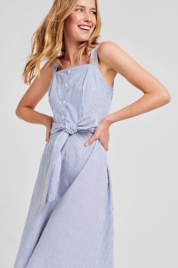Blue summer's dress with a self-tie belt