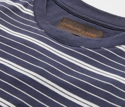 Close up of the collar of a striped t-shirt