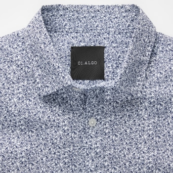 Close up of the collar of a printed shirt