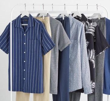 Rail full of men's clothing