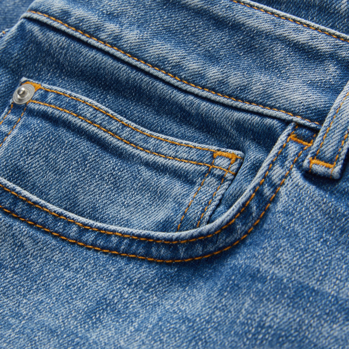 Close up of the pocket on a pair of jeans