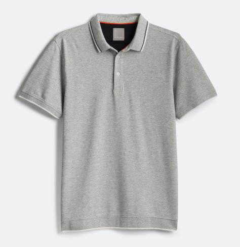 Grey short sleeved polo top