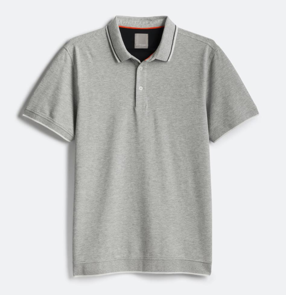 Grey short sleeved polo top