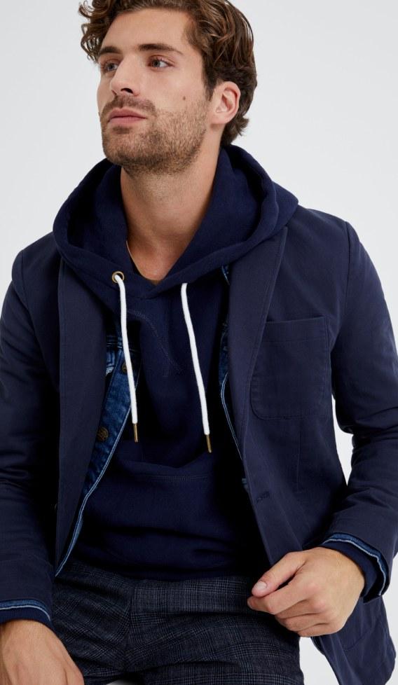 Dark casual jacket and dark blue hoodie