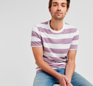 Purple and white striped t-shirt and jeans