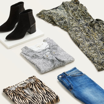 Stitch Fix X County Capsules popular Lancashire women's clothing featuring jeans, black ankle boots, a zebra print shirt, a printed white shirt and an animal print dress.