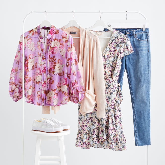 Stitch Fix X County Capsules popular West Midlands women's clothing rack featuring a floral print dress, a pink floral print shirt, skinny jeans and a pale pink lightweight blazer.
