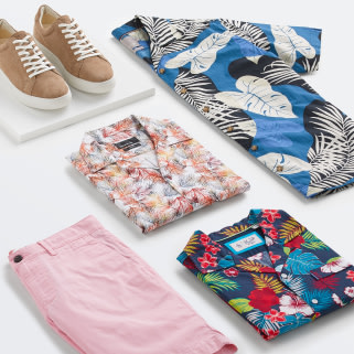 Stitch Fix X County Capsules popular West Midlands men's clothing featuring pink shorts, floral print shirts and tan leather sneakers.