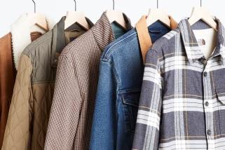 Stitch Fix men's jackets including plaid, denim, brown, olive and tan.